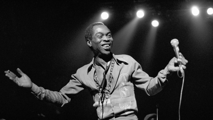 UTRECHT, NETHERLANDS-NOVEMBER 3D: Fela Kuti ,vocal,  performs at Vredenburg on 3d november 1988 in Utrecht, the Netherlands ( photo by Frans Schellekens/Redferns)