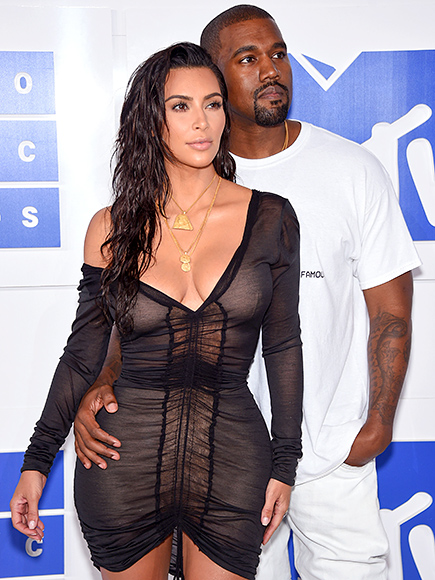 NEW YORK, NY - AUGUST 28:  Kim Kardashian (L) and Kanye West attend the 2016 MTV Video Music Awards at Madison Square Garden on August 28, 2016 in New York City.  (Photo by Dimitrios Kambouris/WireImage)