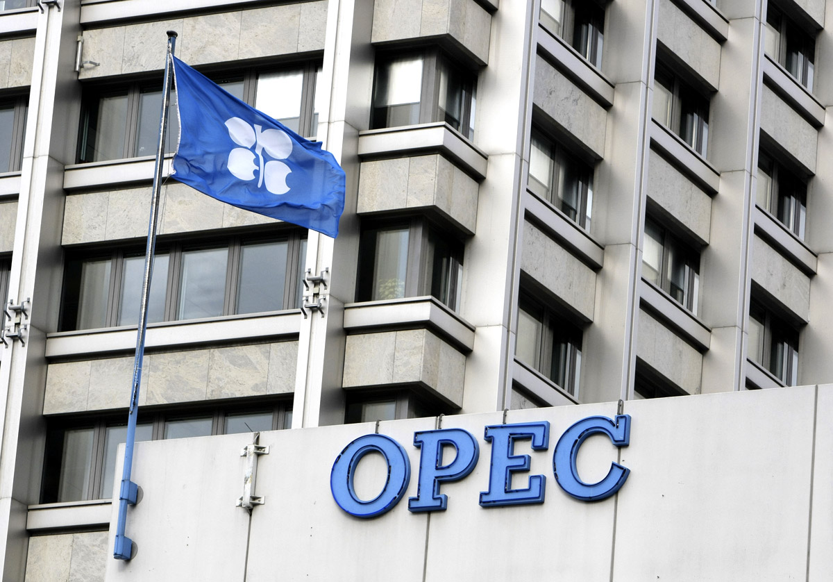 A flag flies outside of the Organization of Petroleum Exporting Countries (OPEC) headquarters in Vienna, Austria, on Thursday, Jan. 31, 2008. OPEC President Chakib Khelil said there's no need to increase or cut oil production quotas at a meeting tomorrow in Vienna, siding with other oil ministers that have suggested maintaining current targets after prices fell this month. Photographer: Suzanne Plunkett/Bloomberg News